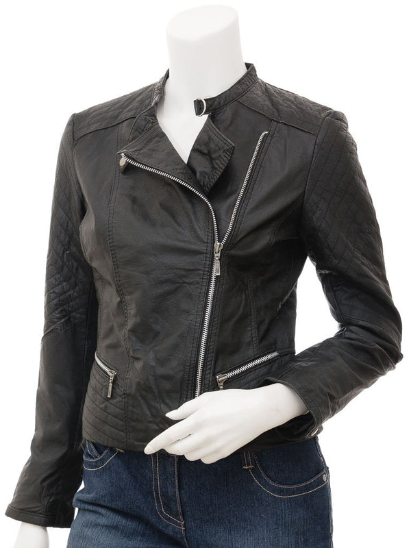 Women's Soft Leather Punk Biker Jacket