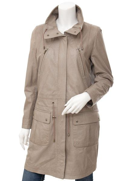 Women's Premium Leather 7/8 Parka Jacket