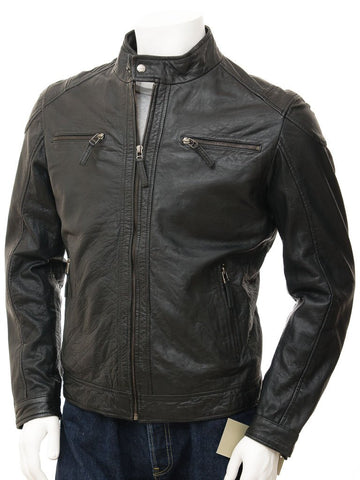 Men's Simple Premium Leather Moto Biker Jacket
