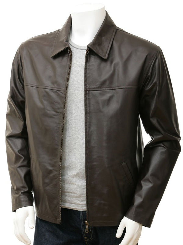 Straight Leather Jacket mens Brown