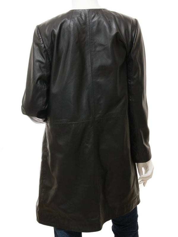 Women's Soft Leather Swing Coat