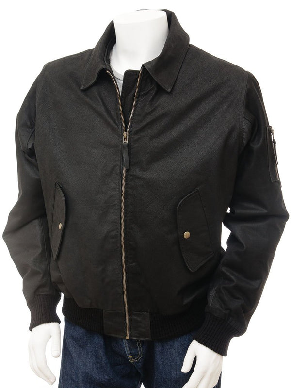 Men's Black Suede Leather Flight Jacket Removable  Fur Collar
