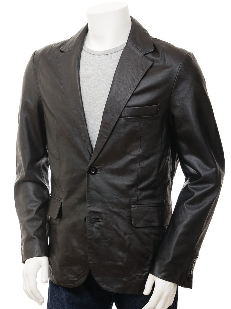 Men's 2 Button Nappa Leather Blazer in Brown Color