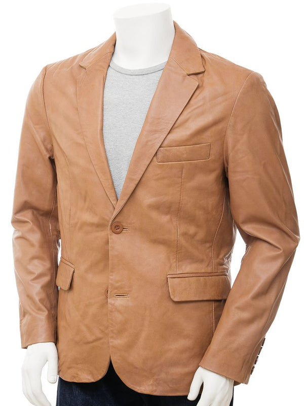 Tan Leather 2 button Leather Blazer with pockets