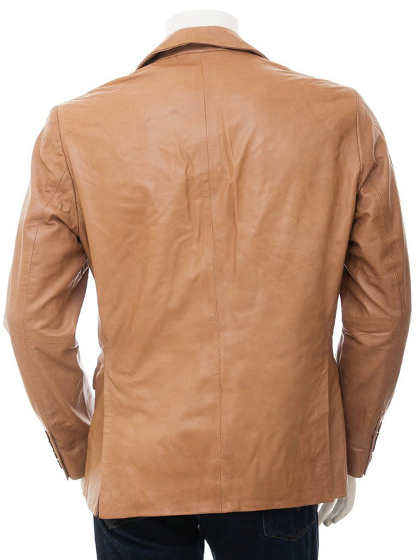Men's 2 Button Nappa Leather Blazer in Tan color