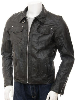 Men's Western Motorcycle  Black Leather Jacket