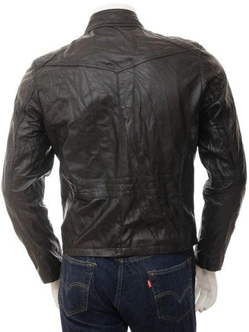 Men's Moto Distressed Leather Biker Jacket Black Color