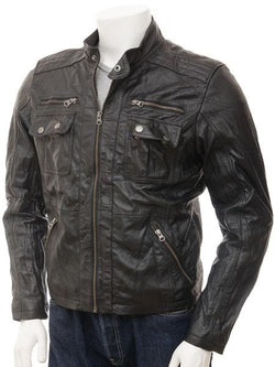 Men's Moto Distressed Leather Biker Jacket