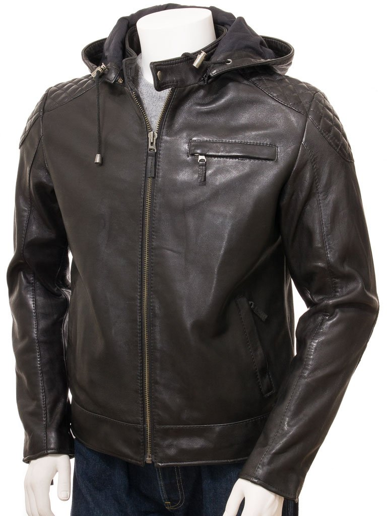 Men's Leather Biker Jacket with Removable hood