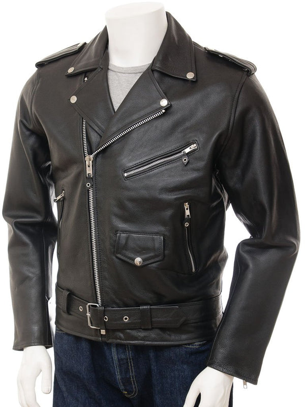 Men's Classic Premium Black Cowhide Leather Motorcycle Jacket