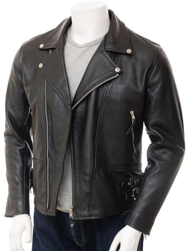 Men's Modern Classic Cowhide Black Leather Motorcyle Jacket