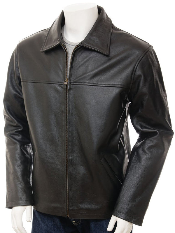 Straight leather jacket zipper collar fancy