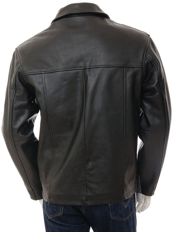 Men's Black Straight Leather Jacket