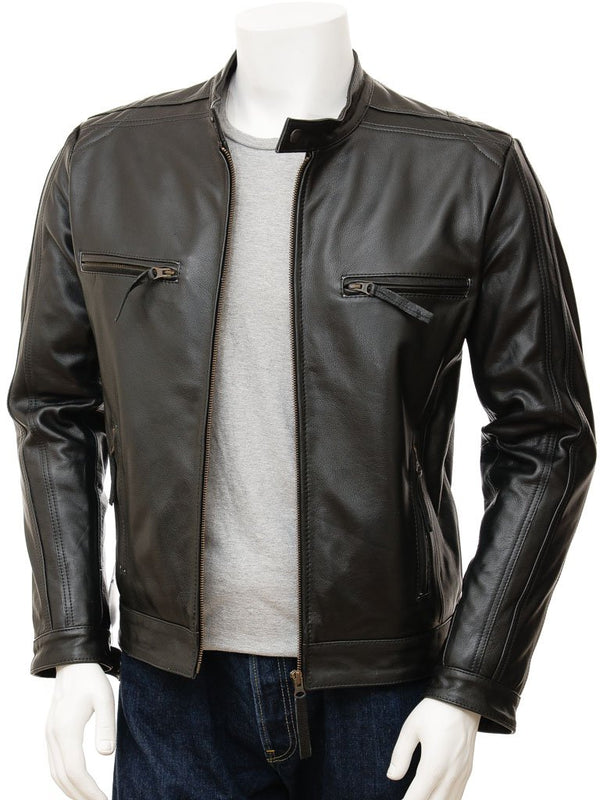 Men's Hip Leather Biker Jacket
