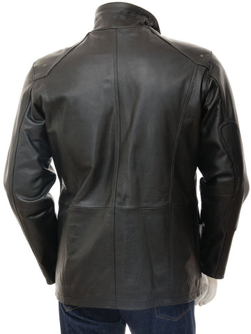 Men's 3/4 Leather Car Coat in Black Color