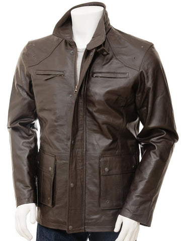 Men's 3/4 Leather Car Coat