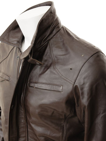 Men's 3/4 Leather CarCoat in Brown Color