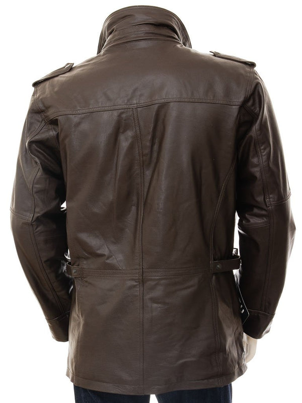 Men's Leather Bomber Jacket 3/4 Length