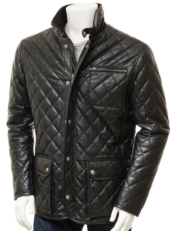 Men's Black Quilted Lambskin Leather 3/4 Coat