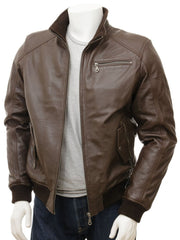 Men's Double Collar Leather Brown Bomber Jacket