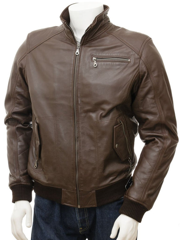 Double Collar Leather Brown Bomber Jacket
