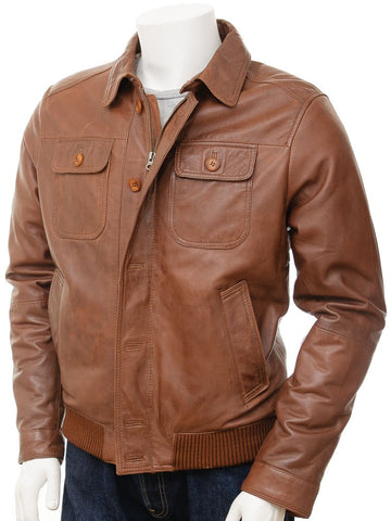 Men's Western Button Zip Tan Leather Bomber Jacket