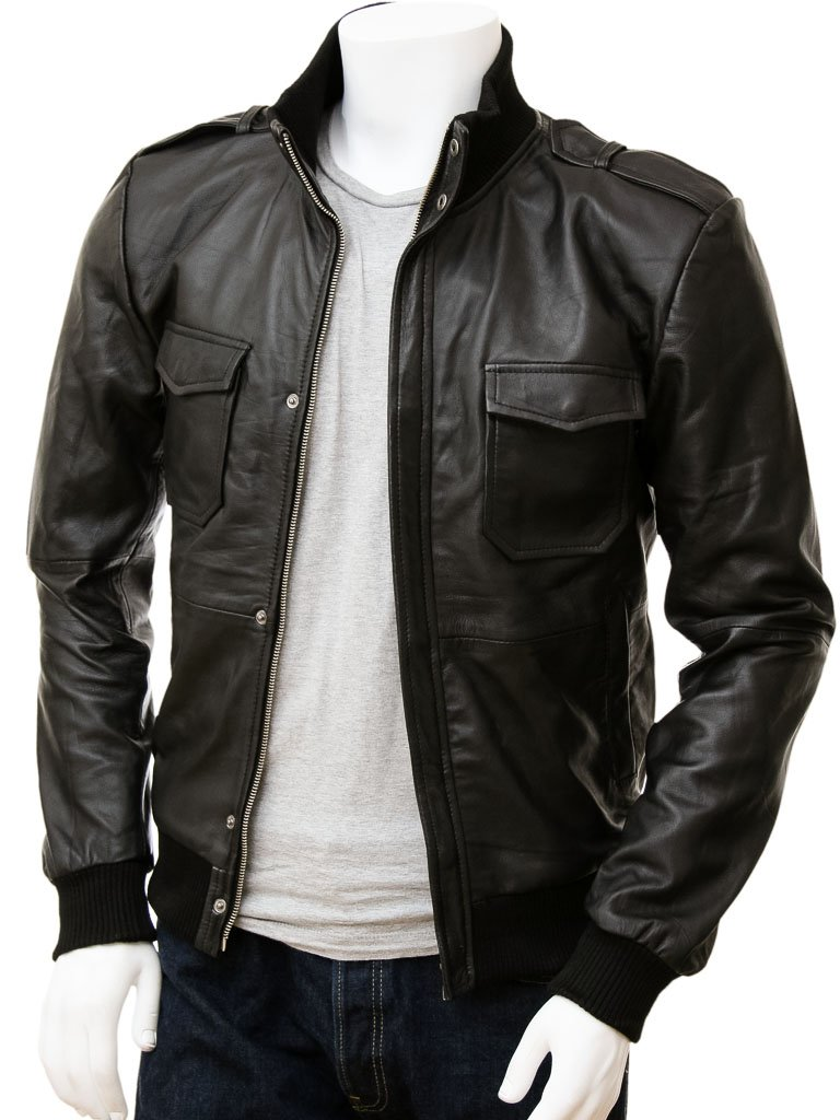 Men's Slim Leather Bomber Jacket