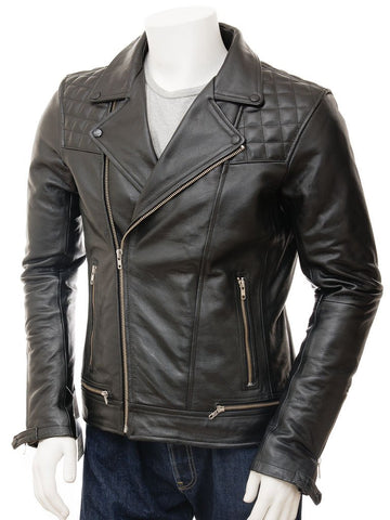 Men's Sarvano Quilted Leather Biker Jacket