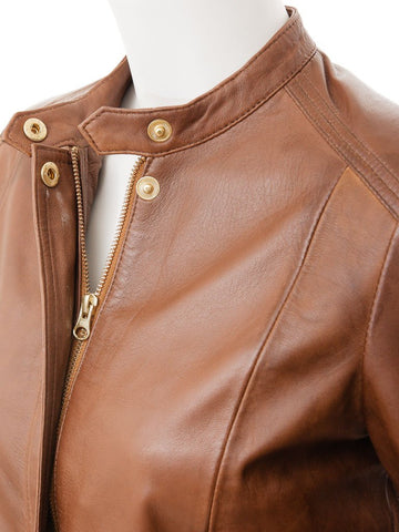 Women's Tan Leather Short Jacket