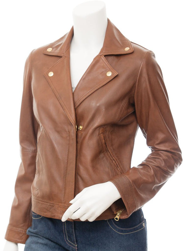 Women's Tan Leather Biker Jacket