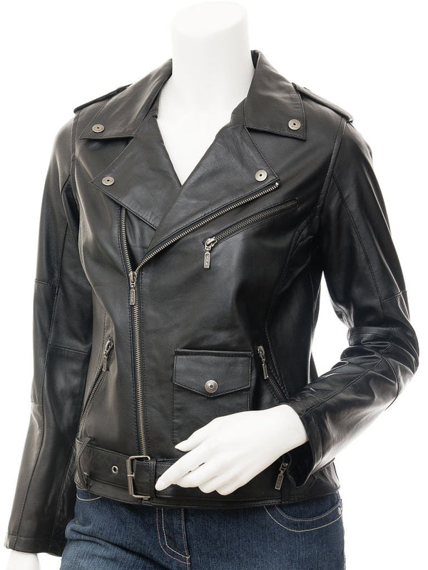Women's Leather Biker Belted Jacket