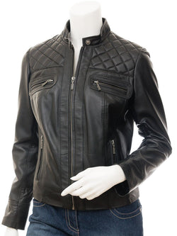 Women's Black Leather Quilted Biker Jacket