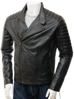 Men's Black Quilted Leather Biker Jacket