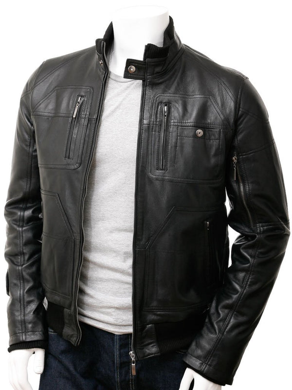 Snap Collar Leather Bomber Jacket