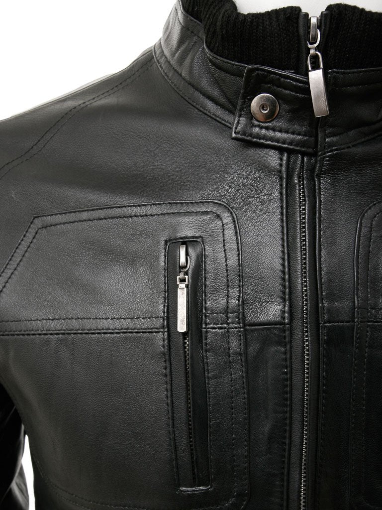 Men's Snap Collar Leather Bomber Jacket