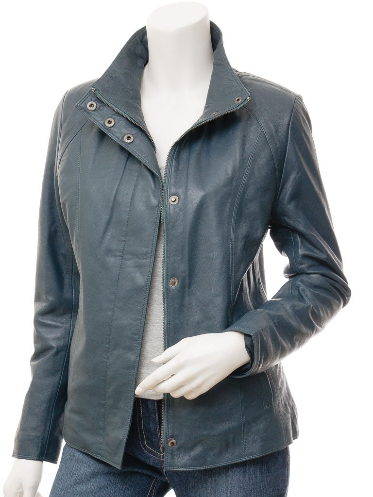 Women's 3/4 3 Button Snap Collar Short Leather Jacket