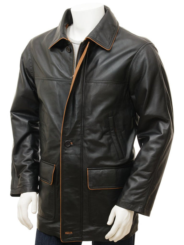 Men's Black Leather Straight Button Coat