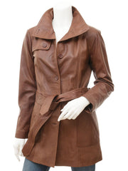 Women's Brown Belted Leather Button Down Trench Coat
