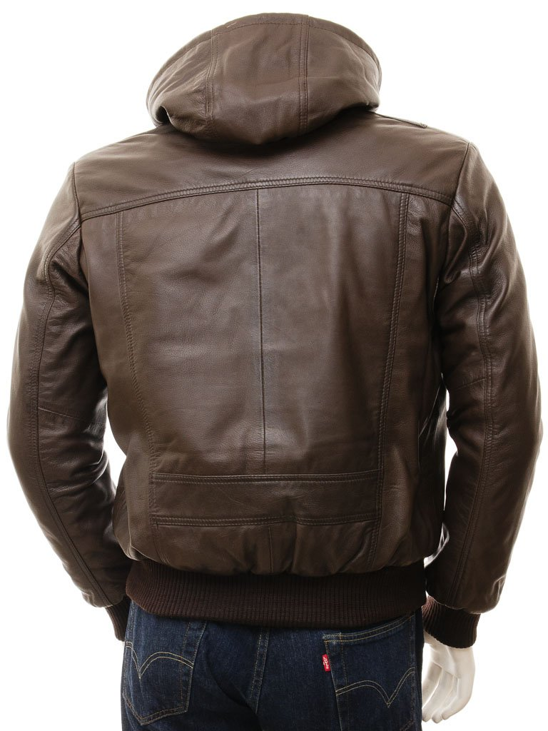 c71fd6fb Men's Leather Hoodie Jacket
