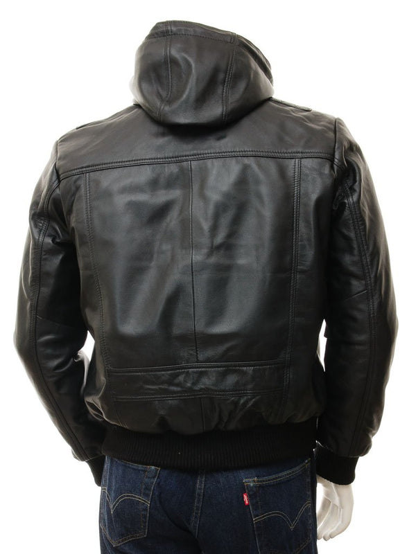 Men's Leather Hoodie Jacket
