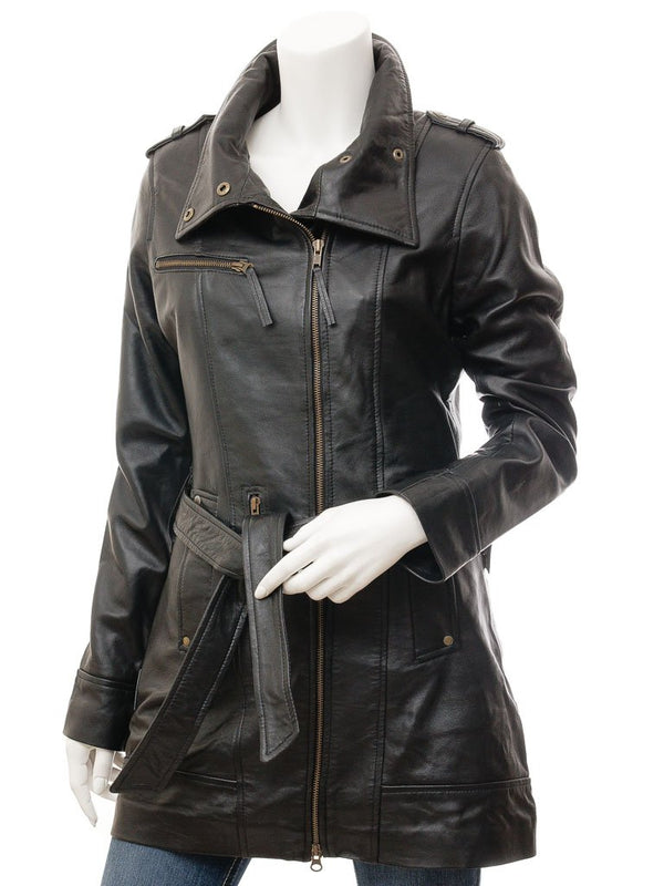 Women's Brown 7/8 Mid-Length Leather Coat