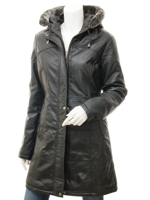 Women's Hooded Leather Long Coat