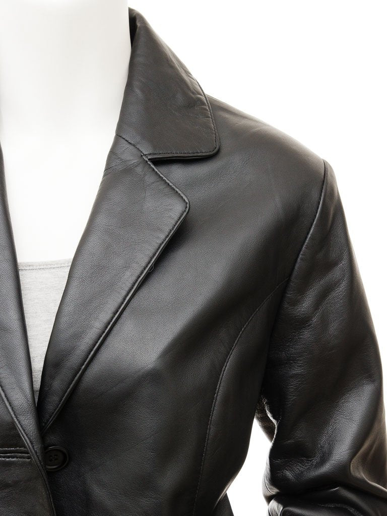 Women's Classic 3 Button Goatskin Leather Blazer