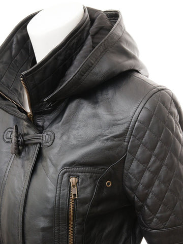 Women's Biker Hooded Parka Hip Cowhide Leather Coat