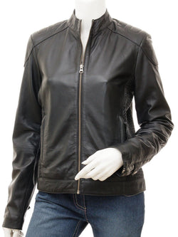 Women's Biker Collarless Style Braided Side Leather Jacket