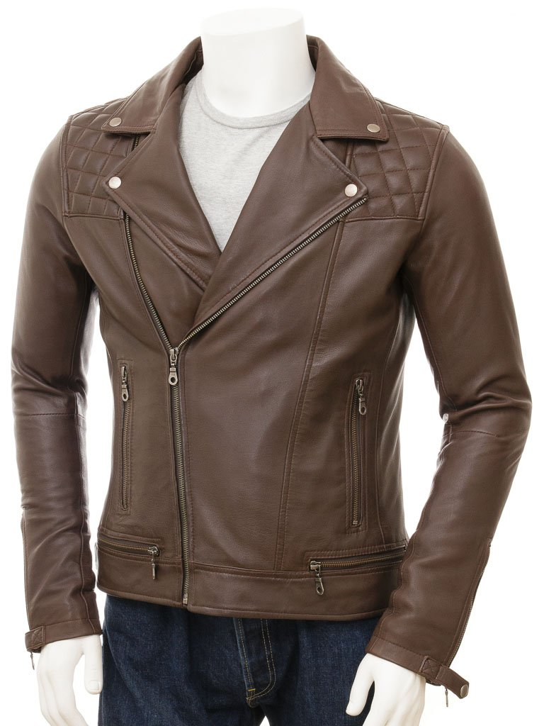 Quilted Moto Biker Sheep Leather Jacket