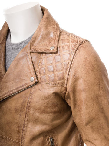 Men's Quilted Moto Biker Sheep Leather Jacket
