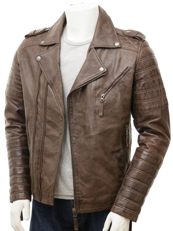 Men's Brown Vintage Style Cowhide Moto Biker Leather Jacket