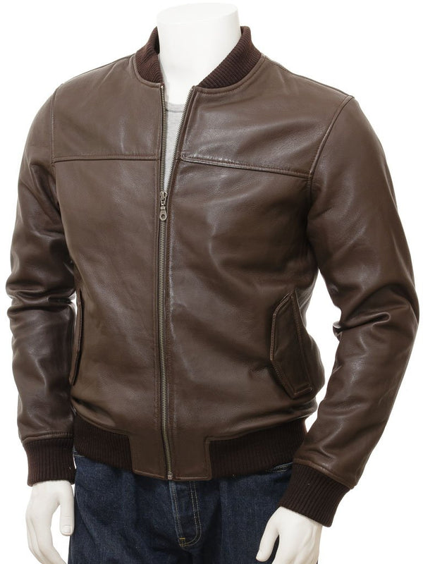 Men's Classic Style Cowhide Leather Bomber Jacket