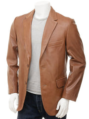 Men's Classic 2 Button Leather Blazer